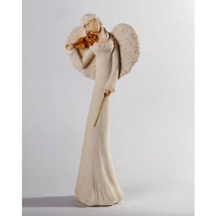 Anjel sádrový husle 38 cm (Farba Biela, Veľkosť Neurčená)