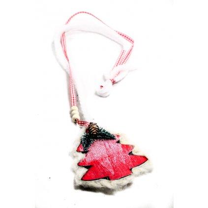 Vianočná dekorácia na zavesenie s dreveným stromčekom na šnúrke (Farba Červená, Veľkosť 60cm)