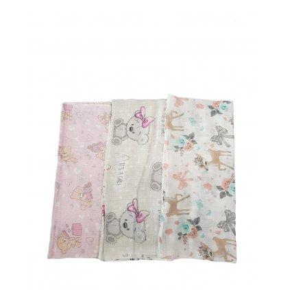 Bavlnené plienky s detským motívom, 10 kusov v balení (Farba Multifarebné, Veľkosť Neurčená)
