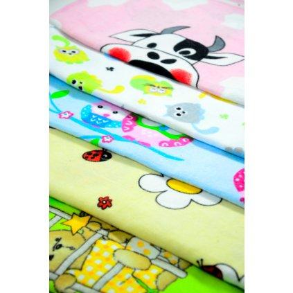 Detská flanelová plienka s obrázkami 70x80cm, PoloTrade, 10 kusov v balení (Farba Multifarebné, Veľkosť 70x80)