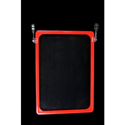 Tabuľka na cenovku A4 s fóliou s háčikmi na zavesenie (Farba Červená, Veľkosť Neurčená)