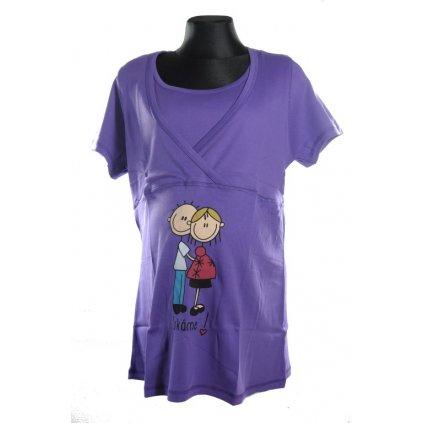 Tehotenské tričko s krátkym rukávom - čakáme (Farba Čierna, Veľkosť L)