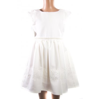 Detské šaty s perličkami (Farba Krémová, Veľkosť 110)