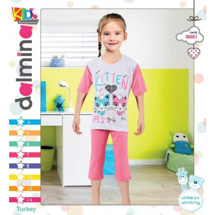 Dievčenské pyžamo - mačičky (Farba Ružová, Veľkosť 8r)