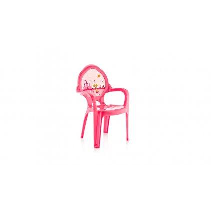 Stolička 60cm ružová - zámok a koník (Farba Svetloružová, Veľkosť 60cm)