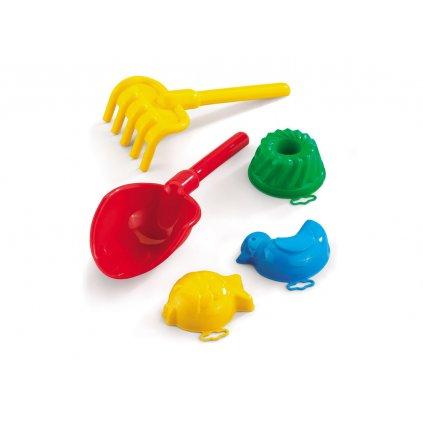 Set hračiek do piesku lopatka, hrabličky, formičky, Marioinex (Farba Multifarebné, Veľkosť 25cm)