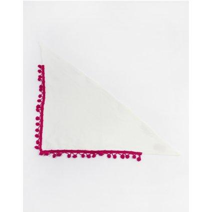 Detská šatka s brmbolcami - krémová (Farba Tmavoružová, Veľkosť 60cm)