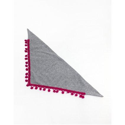 Detská šatka s brmbolcami - šedá (Farba Tmavoružová, Veľkosť 60cm)