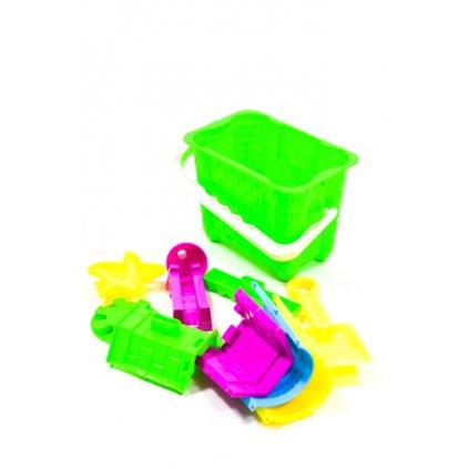 Plastový kýblik s formičkami, PoloTrade (Farba Žltá, Veľkosť 18x13cm)