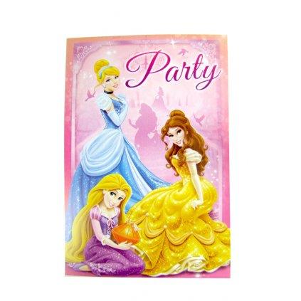 Pozvánka na párty Princess 5ks (Farba Ružová, Veľkosť 15x10cm)