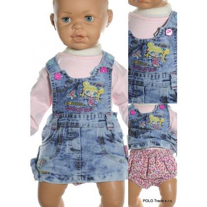 Šaty detské - riflové s nohavičkami (Farba Modrá, Veľkosť 74)