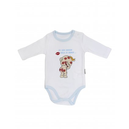 Chlapčenské kojenecké body - bola tu babka (Farba Svetlomodrá, Veľkosť 1m)