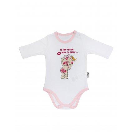 Dievčenské kojenecké body - bola tu babka (Farba Červená, Veľkosť 1m)