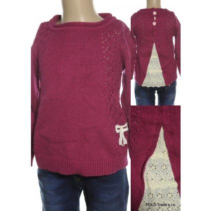 Detský obojstranny sveter - štrikovaný (Farba Svetloružová, Veľkosť 104)