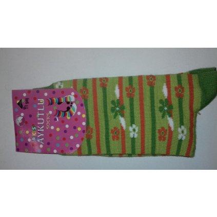 Detské ponožky - kvety a pásiky (Farba Oranžová, Veľkosť 11r)