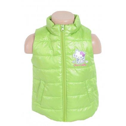 Detská vesta - Hello Kitty Charmmy kitty + čiapka a rukavice zdarma (Farba Zelená, Veľkosť 6m)