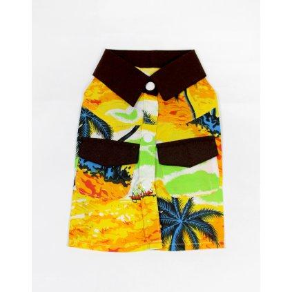 Havajská košeľa pre psíka, žltá, čierne detaily (Farba Žltá, Veľkosť S)