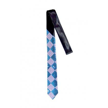 Úzka kravata s flitrami 145 cm, šachovnicový vzor, modrá farba (Farba Modrá, Veľkosť Neurčená)