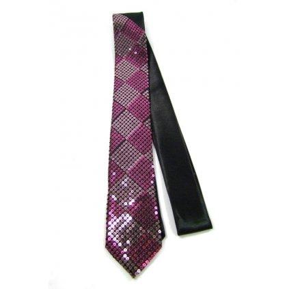 Úzka kravata - ružové flitre (Farba Ružová, Veľkosť Neurčená)