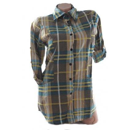 Dámska košeľa károvaná (Farba Tmavohnedá, Veľkosť 36)