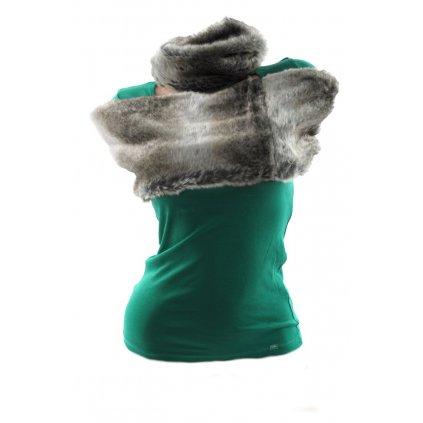 Kožušinový šál - bolerko vlk bledý, PoloTrade (Farba Tmavozelená, Veľkosť 120cm)