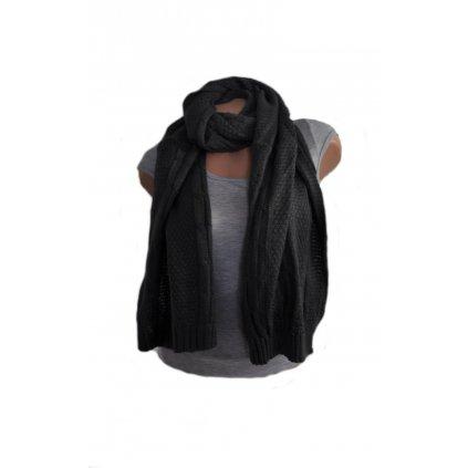 Pletený vzorovaný šál (Farba Biela, Veľkosť 190x41cm)