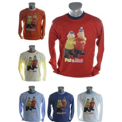 Detské tričko s dlhým rukávom a zvýrazneným límcom - Pat & Mat (Farba Tmavomodrá, Veľkosť 176)