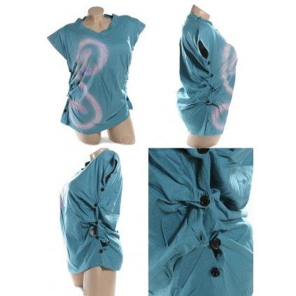 Dámske tričko - gombíky (Farba Čierna, Veľkosť XL)