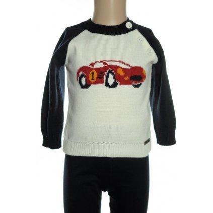 Sveter detský - autíčko (Farba Čierna, Veľkosť 18-24m)