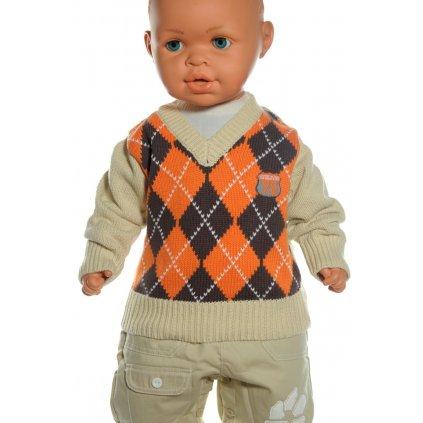 Detský sveter - káro (Farba Šedá, Veľkosť 24m)
