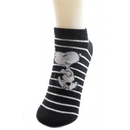 Ponožky Snoopy - kotníkové, 4 kusy v balení (Farba Čierna, Veľkosť 35-38)