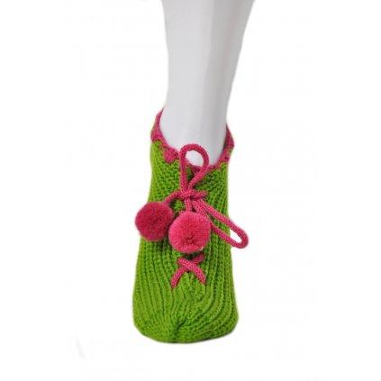 Štrikované ponožky/papuče (Farba Svetlohnedá, Veľkosť 36-41)