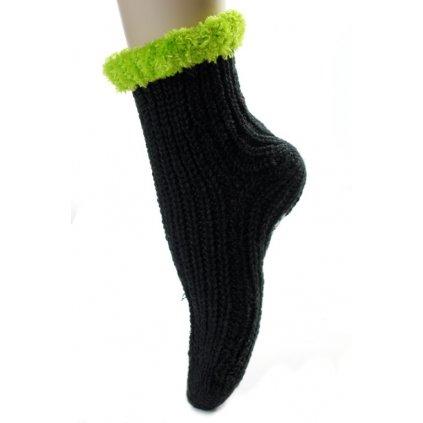Detské štrikované ponožky vločky (Farba Svetlozelená, Veľkosť 22-26)