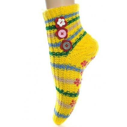 Ponožky - štrikované s ozdobnými gombíkmi (Farba Žltá, Veľkosť 22-26)