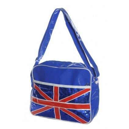Taška s flitrami - London (Farba Modrá, Veľkosť 40x30cm)