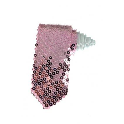 Kravata s flitrami svetlo ružová (Farba Svetloružová, Veľkosť Neurčená)