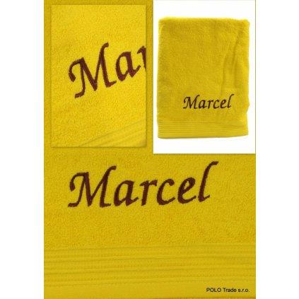 Osuška s menom Marcel 70x130cm, PoloTrade (Farba Žltá, Veľkosť 130x70cm)