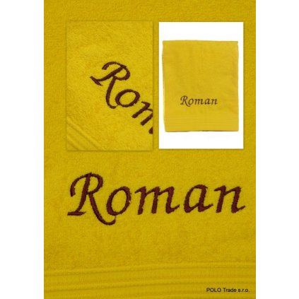 Osuška s menom Roman 70x130cm, PoloTrade (Farba Žltá, Veľkosť 130x70cm)