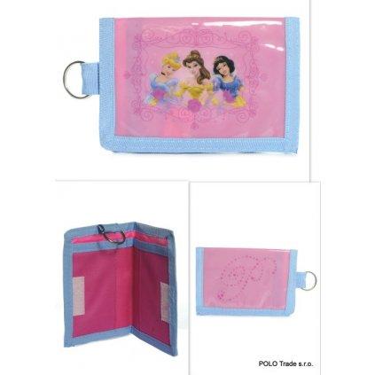 Peňaženka Disney princezné (Farba Svetloružová, Veľkosť 15x6cm)