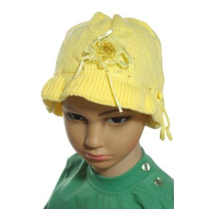 Dievčenská čiapka s kvetinkou (Farba Svetložltá, Veľkosť Neurčená)
