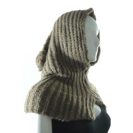 Pletený šál s čiapkou (Farba Svetlošedá, Veľkosť Neurčená)
