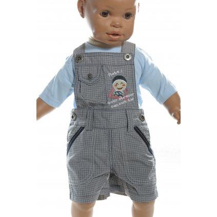 Krátke, detské nohavice - karované na traky (Farba Šedá, Veľkosť 80)