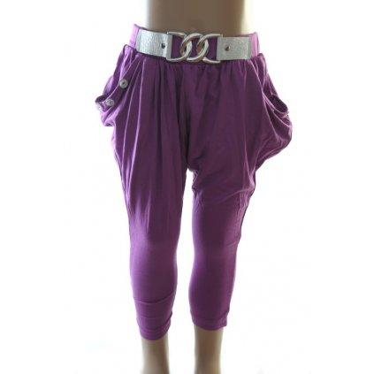 Detské štýlové nohavice s imitáciou opasku. (Farba Tmavoružová, Veľkosť 176)