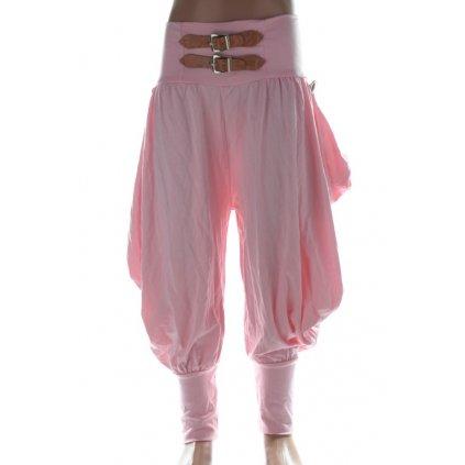 Nohavice detské - voľné s imitáciou opasku (Farba Svetloružová, Veľkosť 140)