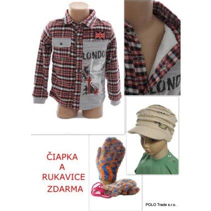 Detská bunda - čiapka+rukavice zdarma (Farba Červená, Veľkosť 5r)