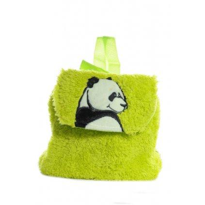 Detský mini ruksak chlpatý - panda, 0.5L (Farba Svetlozelená, Veľkosť 25x20cm)