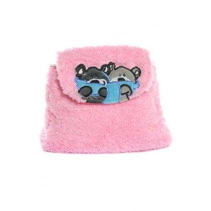 Detský mini ruksak chlpatý - mackovia so šálom, 0.5L (Farba Svetloružová, Veľkosť 25x20cm)