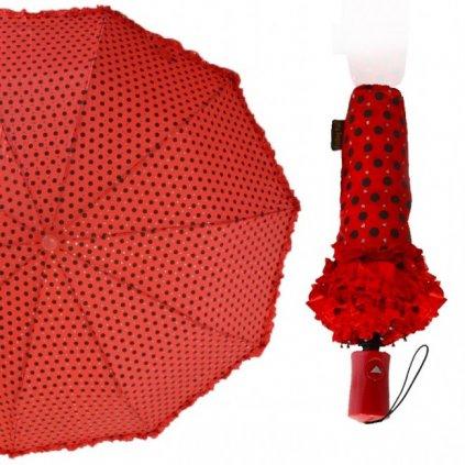 Dáždnik bodkovaný s krajkou, skladací a vystrelovací (Farba Biela, Veľkosť 32cm)
