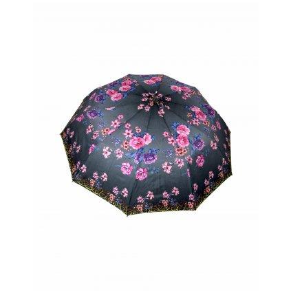 Skladací dáždnik ružový a modrý kvet (Farba Tmavošedá, Veľkosť 31cm)