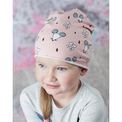 Dievčenská čiapka myšky - BISZKOPT, C-5-22013 (Farba Svetlozelená, Veľkosť 46-48)